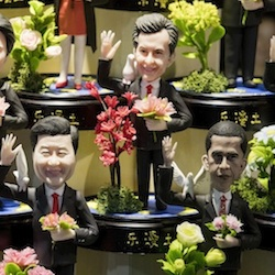 Clay figures, from bottom right, showing U.S. President Barack Obama, Chinese President Xi Jinping and Russian President Vladimir Putin amongst other state leaders expected to attend the G20 summit are displayed at a shop in Hangzhou in eastern China's Zhejiang province Sept. 1, 2016. China's hosting of the Group of 20 industrialized nations summit highlights its role as the world's second largest economy and a growing force in global diplomacy, but also comes amid sharpening frictions over its territorial claims in the South China Sea, disputes with fellow regional powers South Korea and Japan and criticisms over a sweeping crackdown on dissent at home. China hopes to avoid discussion of such issues while using the summit in the eastern city of Hangzhou to burnish its image as a responsible major nation whose support is essential to solving the world's ills. (AP Photo/Ng Han Guan)
