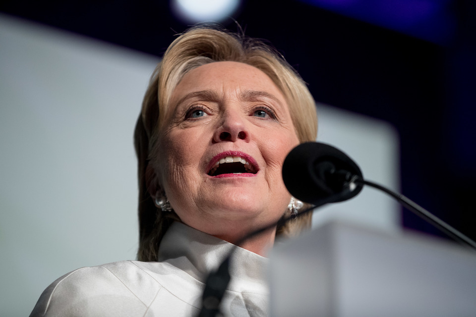 Democratic presidential candidate Hillary Clinton speak at the Congressional Black Caucus Foundation's Phoenix Awards Dinner at the Washington Convention center, in Washington, Saturday, Sept. 17, 2016, after receiving the Phoenix award. (AP Photo/Andrew Harnik)