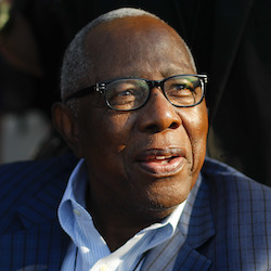 Baseball great, hall-of-famer Hank Aaron arrives for the dedication ceremony of the Smithsonian Museum of African American History and Culture on the National Mall in Washington, Saturday, Sept. 24, 2016. (AP Photo/Pablo Martinez Monsivais)