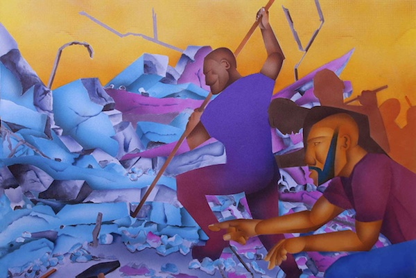 """Soul Searchers"" is a painting done by Robert Horton after a trip to Haiti and it depicts the recovery effort after the earthquake."