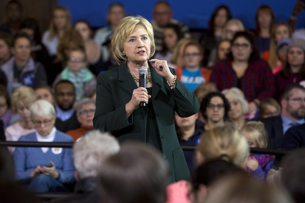 Democratic presidential candidate Hillary Clinton speaks at a campaign event Wednesday, Dec. 16, 2015, at the Old Brick Church in Iowa City, Iowa. (AP Photo/Scott Morgan)