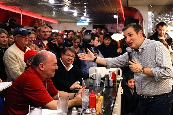 Republican Presidential candidate, Sen. Ted Cruz, R-Texas, campaigns at Penny's Diner in Missouri Valley, Iowa, Jan 4, 2016. Cruz and Marco Rubio are fighting for the favor of many of the same undecided voters across Iowa, where even some of the most attentive Republicans say they can't make up their minds less than four weeks before voting begins. (AP Photo/Nati Harnik, File)