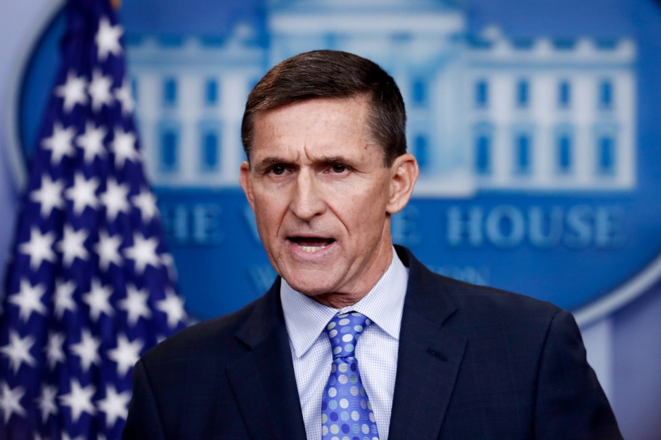 In this Feb. 1, 2017 file photo, then-National Security Adviser Michael Flynn speaks during the daily news briefing at the White House, in Washington. The White House is refusing to provide lawmakers with information and documents related to President Donald Trump's first national security adviser's security clearance and payments from organizations tied to the Russian and Turkish governments. (AP Photo/Carolyn Kaster)
