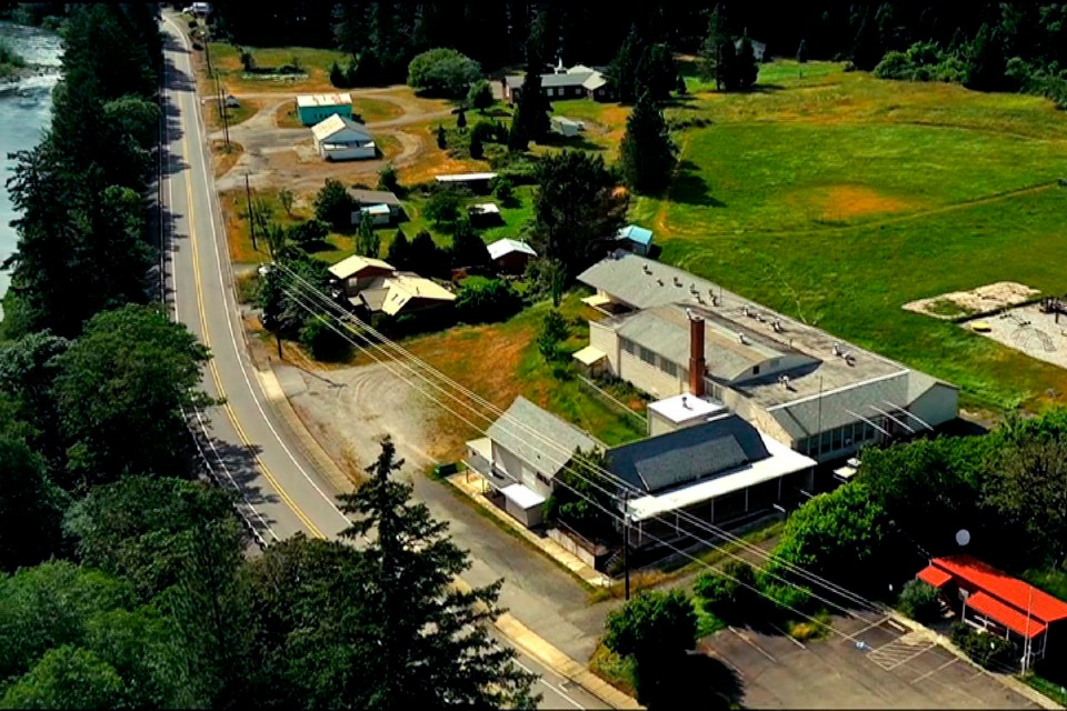 This undated aerial photo taken from a drone video and provided by LandandWildlife.com, shows Tiller, Ore.