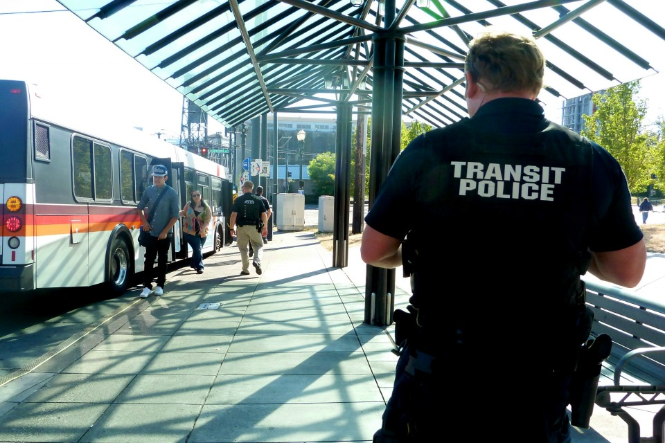 While transit police are authorized to check fares, they're primarily employed to regulate safety and criminal activity. (Photo courtesy of TriMet)