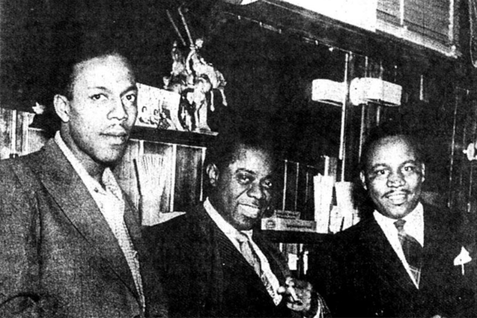 This weekend's Albina Jazz Festival, which celebrates the history of jazz in Portland, will take place in the Stingray Café on N. Broadway, which in 1945 housed the Dude Ranch, one of the city's first jazz venues. Pictured here is Louis Armstrong with Dude Ranch owners Pat Patterson and Sherman Pickett.