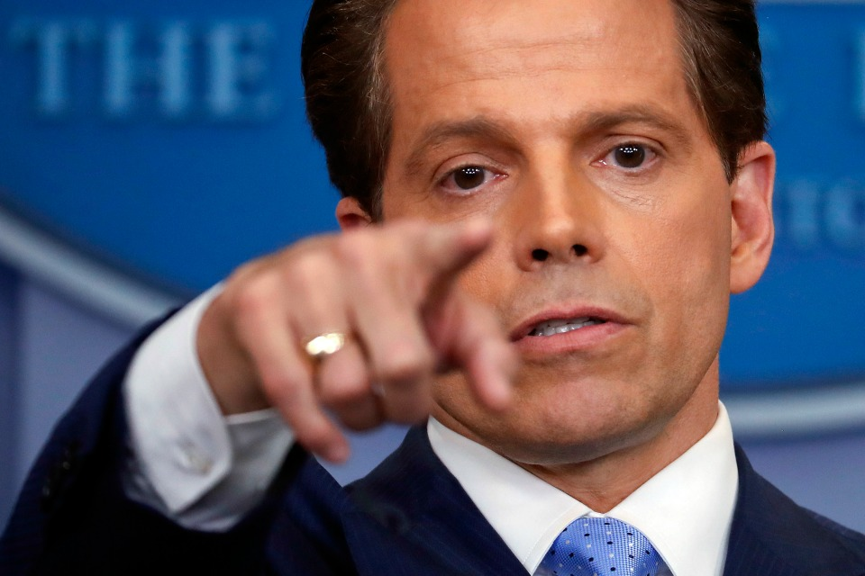 In this July 21, 2017 photo, incoming White House communications director Anthony Scaramucci points as he answers questions from members of the media during the press briefing in the Brady Press Briefing room of the White House in Washington.