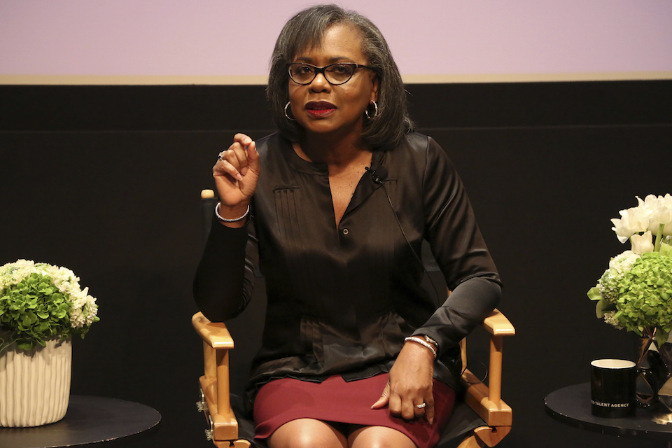 Anita Hill speaks at a discussion about sexual harassment and how to create lasting change from the scandal roiling Hollywood at United Talent Agency in Beverly Hills, Calif., Dec. 8, 2017. Hollywood executives and other major players in entertainment have established a commission to be chaired by Hill that intends to combat sexual misconduct and gender inequities across the industry. A statement Friday, Dec. 15, 2017, announced the founding of the Commission on Sexual Harassment and Advancing Equality in the Workplace. (Photo by Willy Sanjuan/Invision/AP, File)