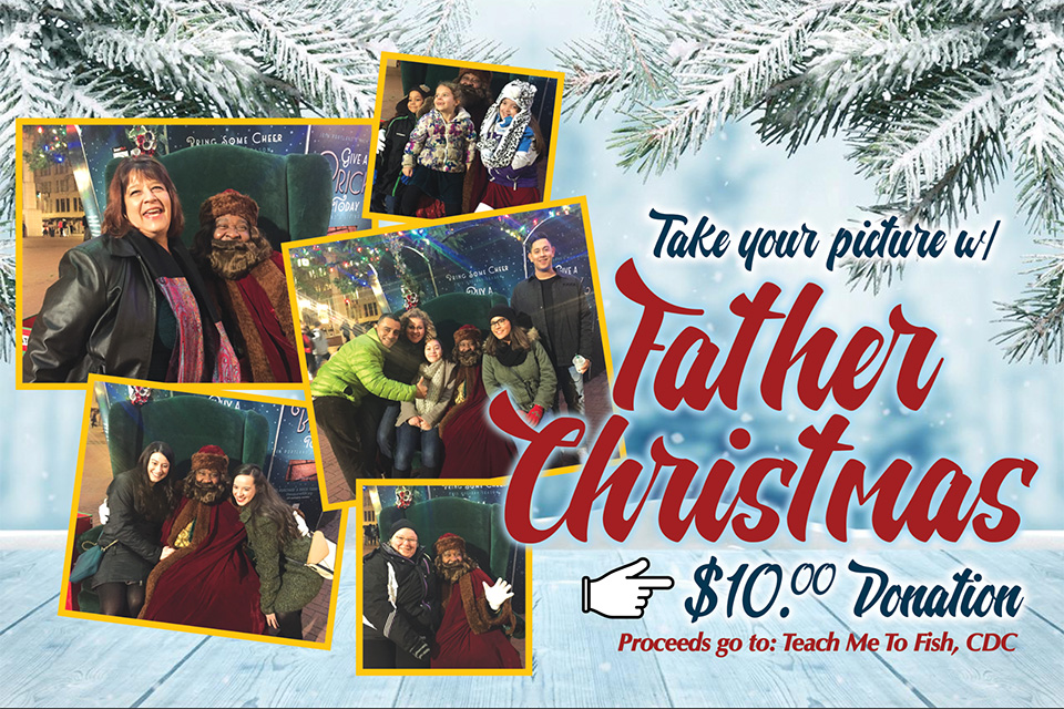 "Photo collage with text reading: ""Take Your Picture with Father Christmas, $10 Donation. Proceeds go to Teach Me to Fish CDC"""