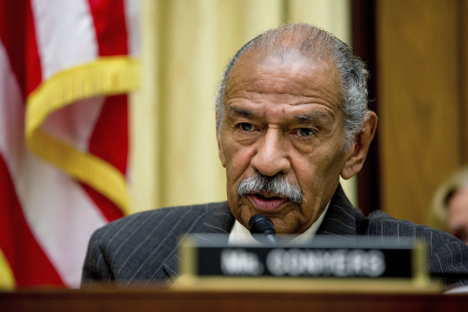 In this May 24, 2016, file photo, Rep. John Conyers, D-Mich., ranking member on the House Judiciary Committee, speaks on Capitol Hill in Washington during a hearing. Conyers, facing sexual misconduct allegations, announced his resignation Tuesday morning. (AP Photo/Andrew Harnik, File)