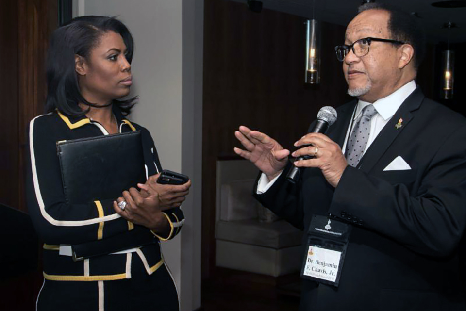"Omarosa and Ben Chavis during an NNPA Black Press Week breakfast in March. She ended up walking out of the meeting after this reporter, Hazel Trice Edney, pressed her on the promised NNPA ""first"" interview with Trump."