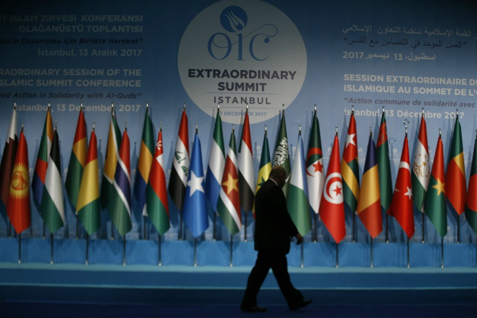 Leaders and top officials from Islamic nations, members of 57-member Organization of Islamic Cooperation gathered for a summit that is expected to forge a unified stance against U.S. President Donald Trump's recognition of Jerusalem as the capital of Israel. (AP Photo/Lefteris Pitarakis)