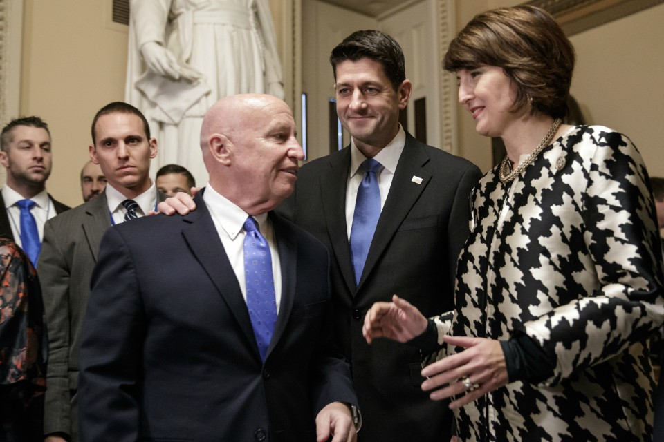 From left, House Ways and Means Committee Chairman Kevin Brady, R-Texas, Speaker of the House Paul Ryan, R-Wis., and Rep. Cathy McMorris Rodgers, R-Wash., chair of the Republican Conference.