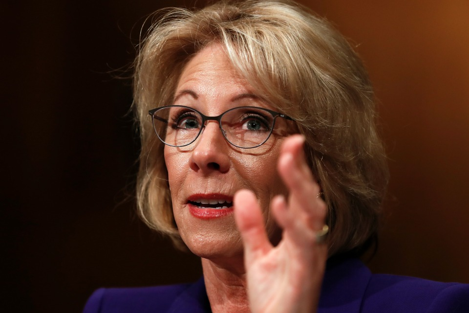 Education Secretary-designate Betsy DeVos testifies on Capitol Hill in Washington at her confirmation hearing before the Senate Health, Education, Labor and Pensions Committee.