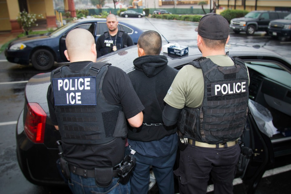 An arrest is made during a targeted enforcement operation conducted by U.S. Immigration and Customs Enforcement (ICE) aimed at immigration fugitives, re-entrants and at-large criminal aliens in Los Angeles.