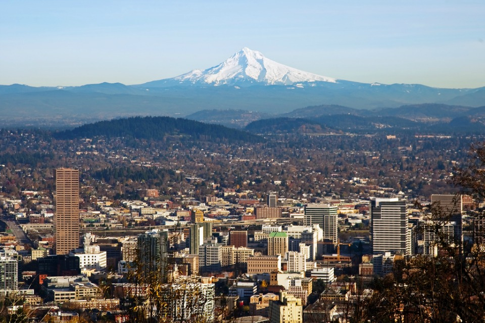 A view of downtown Portland with Mt Hood in the background. Taken from the Pittock Mansion