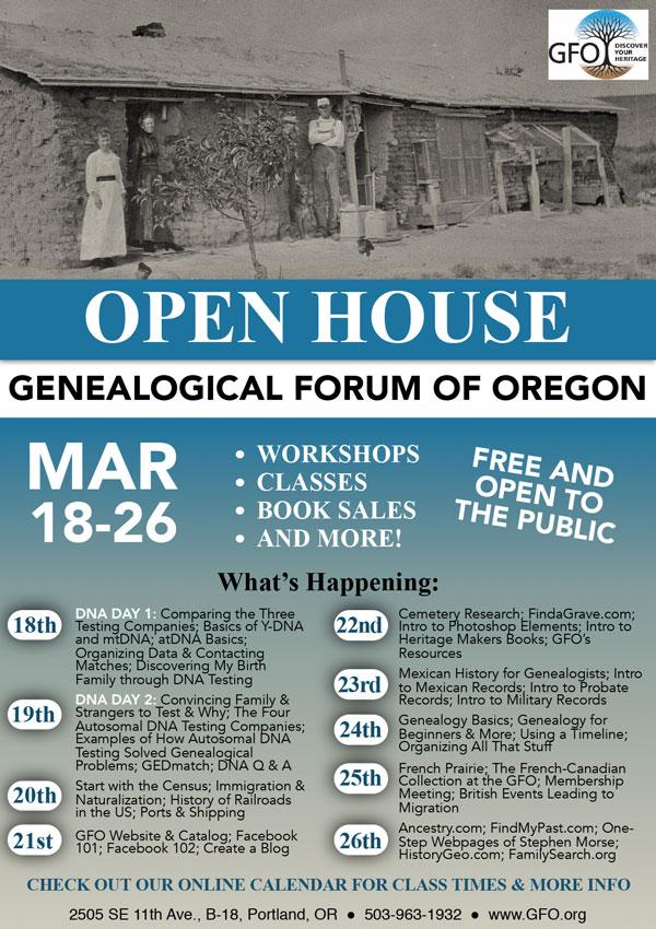 Genealogical forum Open House med