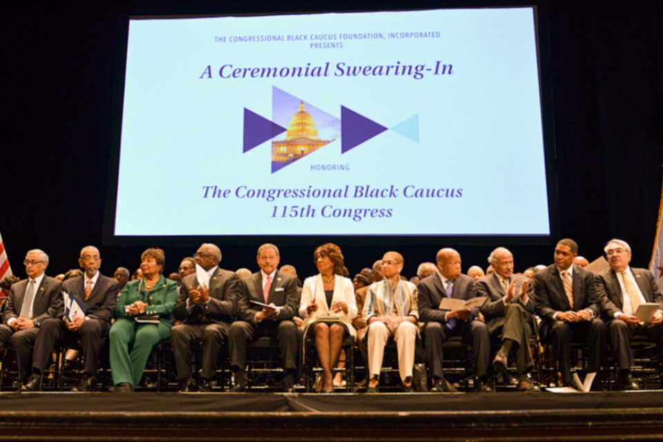 Members of the Congressional Black Caucus participate in the Ceremonial Swearing-In event for the 115th Congress at The Warner Theatre in Washington, D.C. (Freddie Allen/AMG/NNPA)