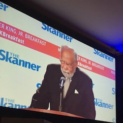 Howard Moore Jr giving the keynote speech at The Skanner Foundation's 31st annual Martin Luther King Jr Breakfast.