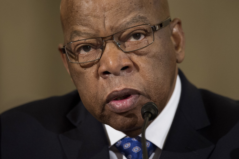 "Rep. John Lewis, D-Ga. testifies on Capitol Hill in Washington at the confirmation hearing for Attorney General-designate, Sen. Jeff Sessions, R-Ala., before the Senate Judiciary Committee, Jan. 11, 2017. Lewis says he's doesn't consider Donald Trump a ""legitimate president,"" blaming the Russians for helping the Republican win the White House. (AP Photo/Cliff Owen, File)"