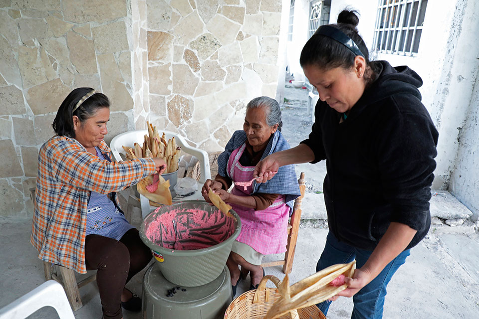 Women making tamales in Molcaxac, Mexico
