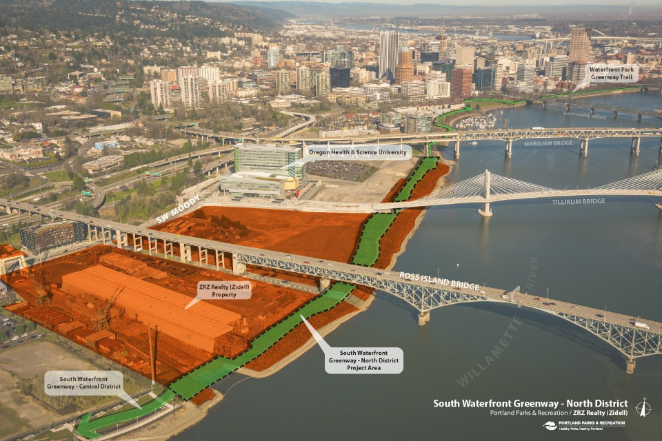 Development area of the South Waterfront Greenway - North Reach. Open House will take place on Tuesday, Feb. 7, from 6 – 8 p.m, at the Southwest Charter School, 0640 SW Bancroft St., Portland. (Photo: Portland Parks & Recreation)