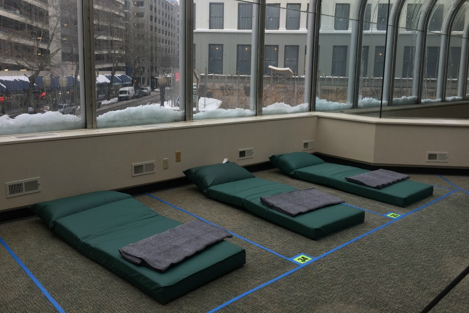 Columbia Shelter is a temporary, low-barrier overnight shelter for up 100 people experiencing homelessness, including women, couples, and men with priority, people 55 and older, those with disabilities and veterans. (Multnomah County)
