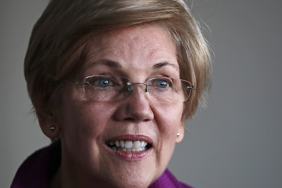 Sen. Elizabeth Warren, D-Mass. listens to a question during an interview at her office in Boston, Dec. 15, 2016. Warren said Friday, Jan. 6, 2017, that she will run for re-election in 2018. (AP Photo/Charles Krupa, File)