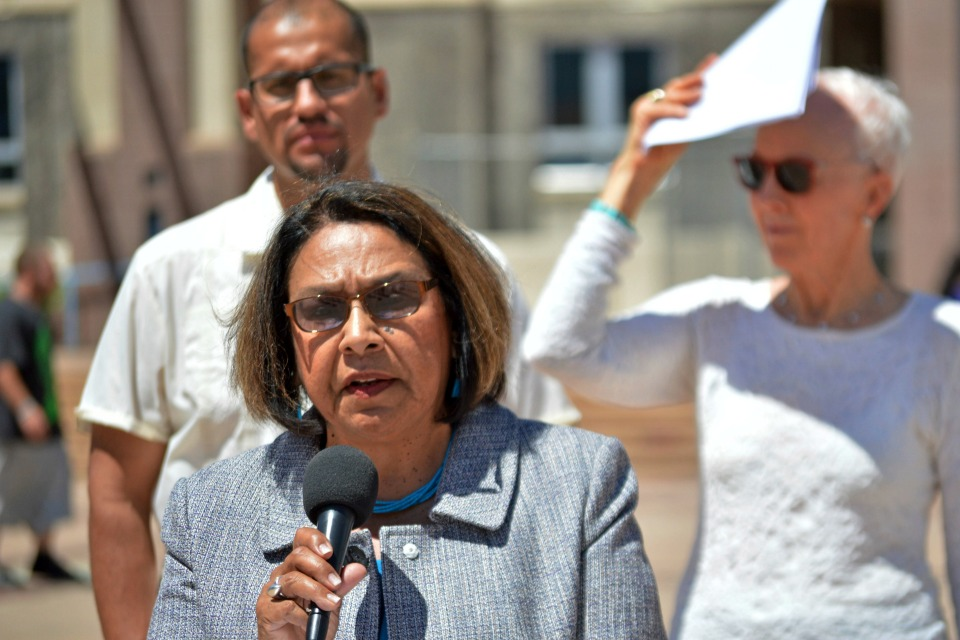 State Rep. Patricia Roybal Caballero, D-Albuquerque, speaks at a press conference by the Democratic Party of New Mexico in downtown Albuquerque. (AP Photo/Russell Contreras, File)