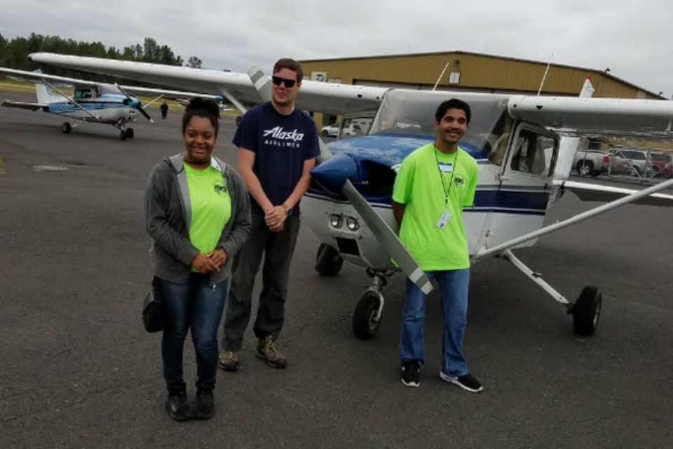 De La Salle students Deovia Morales and Jacobi Lacey participate in the Introduction to Aviation camp at Pearson Airfield in Vancouver, Wash.