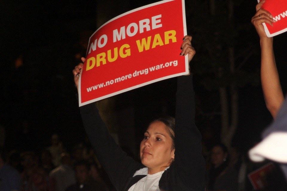 Rally to end the War on Drugs, MacArthur Park, Los Angeles, November 3, 2011. (Photo: Nikki David / Neon Tommy)