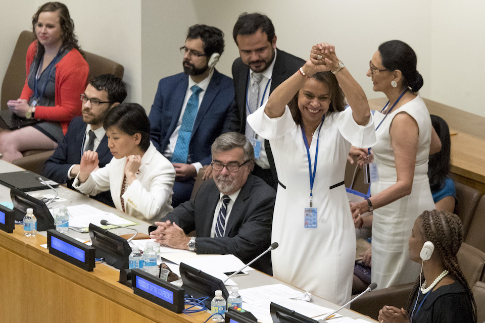 Costa Rican Ambassador Elayne Whyte Gomez, President of the United Nations Conference to Negotiate a Legally Binding Instrument to Prohibit Nuclear Weapons, reacts after a vote by the conference to adopt a legally binding instrument to prohibit nuclear weapons, leading towards their total elimination, Friday, July 7, 2017 at United Nations headquarters. More than 120 countries have approved the first-ever treaty banning nuclear weapons at a U.N. meeting boycotted by all nuclear-armed nations. Friday's vote was 122 countries in favor with the Netherlands opposed and Singapore abstaining.(AP Photo/Mary Altaffer)