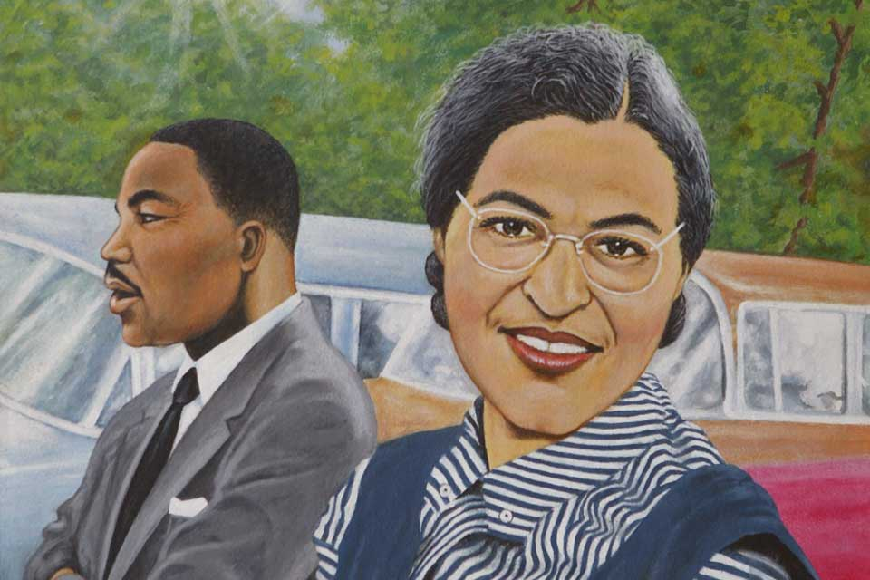 Portrait of Rosa Parks and Martin Luther King Jr., featured in Frison's exhibit.