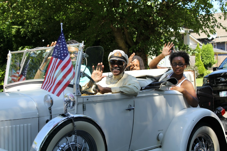Paul Knauls, Sr., the honorary Mayor of Northeast Portland and an early booster of the Good in the Hood festival and parade, is shown here in the 2013 parade.