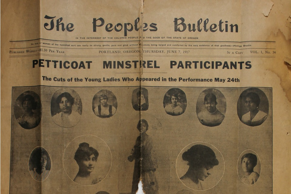 "The only known copy of ""The People's Bulletin."" Image courtesy of Wyles Mss. 179, Portland [Oregon] African-American Collection, circa 1900-1970. Department of Special Research Collections, UCSB Library, University of California, Santa Barbara, CA"