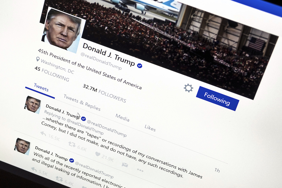 President Donald Trump's Twitter page with his tweets about not recording his conversations with former FBI Director James Comey is photographed in Washington, 22, 2017. The Trump administration's mastery of the online world notably doesn't extend to Spanish-language content. It never replaced the Spanish portion of the White House website; its Spanish Twitter account is peppered with English and features abundant typos; and there appears to be little outreach to a demographic that rejected Trump by an overwhelming margin. (AP Photo/J. David Ake)