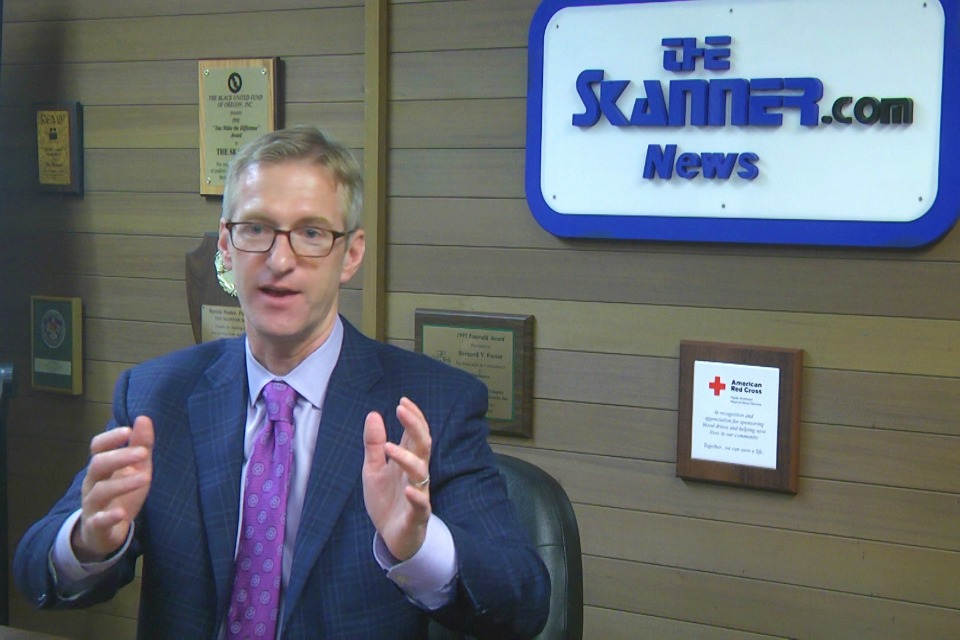 Mayor Ted Wheeler at The Skanner News in Portland