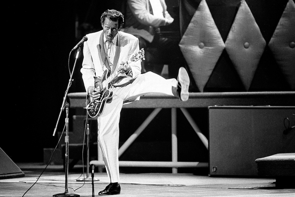 Chuck Berry performs during a concert celebration for his 60th birthday at the Fox Theatre in St. Louis, Mo. Oct. 17, 1986. On Saturday, March 18, 2017, police in Missouri said Berry has died at the age of 90. (AP Photo/James A. Finley)