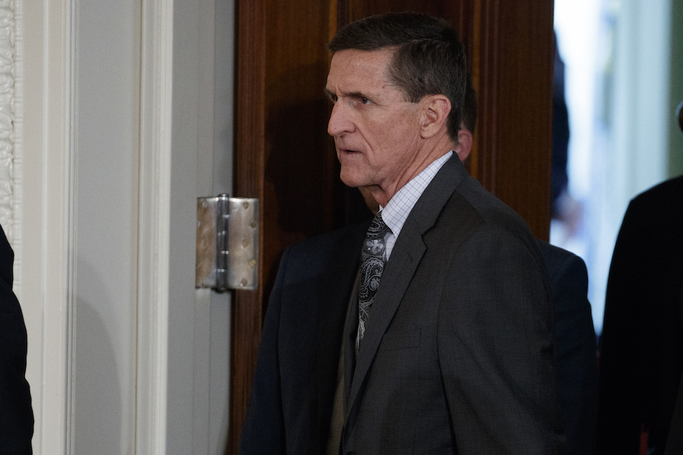 Mike Flynn arrives for a news conference in the East Room of the White House in Washington, Feb. 13, 2017. Flynn, President Donald Trump's former national security adviser, who was fired from the White House last month, has registered as a foreign agent with the Justice Department for work that may have aided the Turkish government in exchange for $530,000. (AP Photo/Evan Vucci, File)