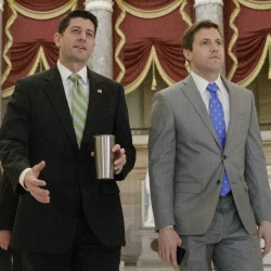 House Speaker Paul Ryan of Wis. arrives on Capitol Hill