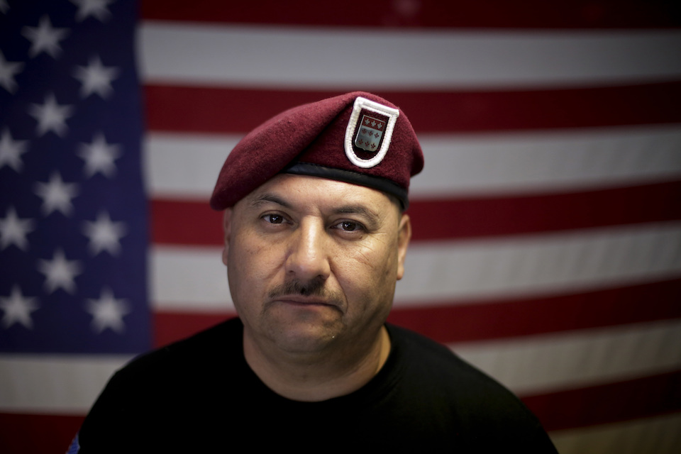 "U.S. Army veteran Hector Barajas, who was deported, poses for a portrait in his office at the Deported Veterans Support House, nicknamed ""the bunker"" in Tijuana, Mexico, Feb. 13, 2017. Despite the pain of separation, many deported vets say they wouldn't hesitate to serve again if given the chance. ""Where do I sign up?"" said Barajas. (AP Photo/Gregory Bull)"