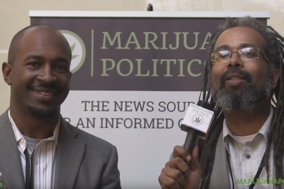 Jesce Horton of the Minority Cannabis Industry Association discusses race and the emerging cannabis industry with Ngaio Bealum at the Oregon Medical Marijuana Business Conference (OMMBC), Mar. 15, 2015 in Eugene, Oregon. (video still: YouTube)