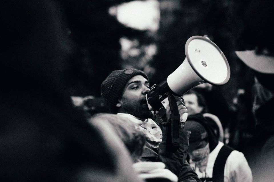 Portland's Resistance leader Gregory McKelvey at Trump inauguration protest, January 2017, Portland. (Photo: Melvin Hernandez)