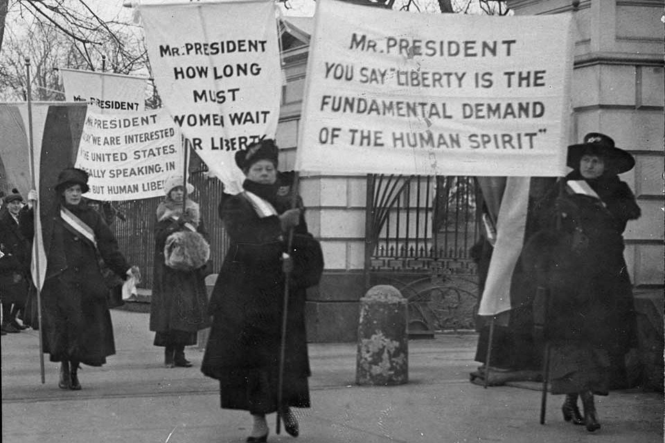 Women's suffrage supporters picketing at the White House. (Photo courtesy of Belmont-Paul Women's Equality)