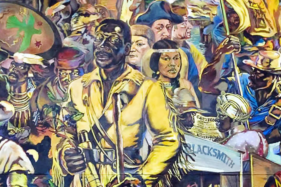 """Bilalian Odyssey"", painted by local artist, Isaka Shamsud-Din, depicts the history of African Americans in the West. It hangs in the Oregon Convention Center."