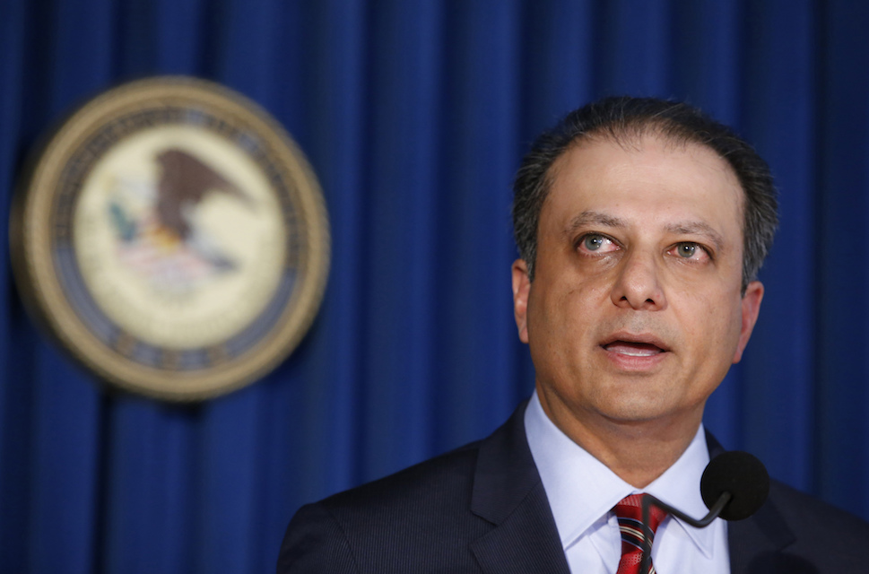 U.S. Attorney Preet Bharara speaks during a news conference in New York, September 17, 2015. The outspoken Manhattan federal prosecutor known for crusading against public corruption said on Saturday, March 11, 2017, that he was fired after refusing to resign.