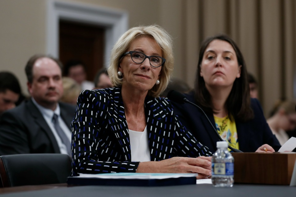 Education Secretary Betsy DeVos, left, joined by Education Department Budget Service Director Erica Navarro.