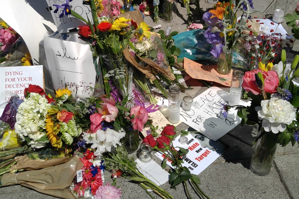 flowers and cards at Hollywood Transit Center in Portland, OR, May 27