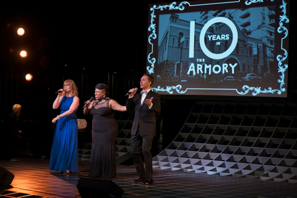 PCS Gala 2017: A Diamond in the Pearl, Celebrating 10 years in The Armory Leah Yorkston, Maiesha McQueen (who recently starred in His Eye is on the Sparrow at The Armory) and Michael Deleget (Photo: Rebekah Johnson Photography)