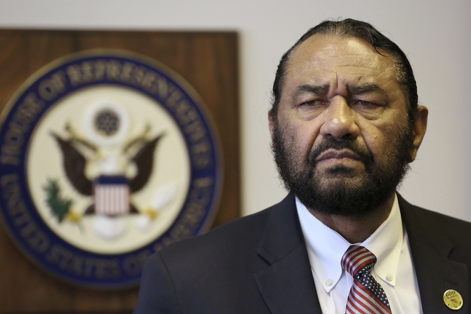 Congressman Al Green speaks to media during a press conference in which he called for the impeachment of President Donald Trump at the Houston Congressional District Office in Houston, Monday, May 15, 2017. The black Texas congressman said Saturday, May 20, that he's been threatened with lynching by callers infuriated over him seeking impeachment of President Trump. (Godofredo A. Vasquez/Houston Chronicle via AP)